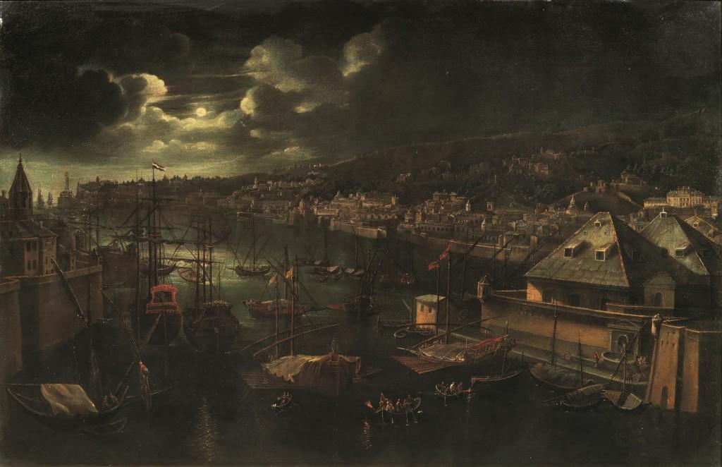 Italienische Schule - Vedute di una città portuale (Genua?), Öl/Holztafel, 123,5 x 191 cm Schätzpreis: 20.000-30.000 EUR