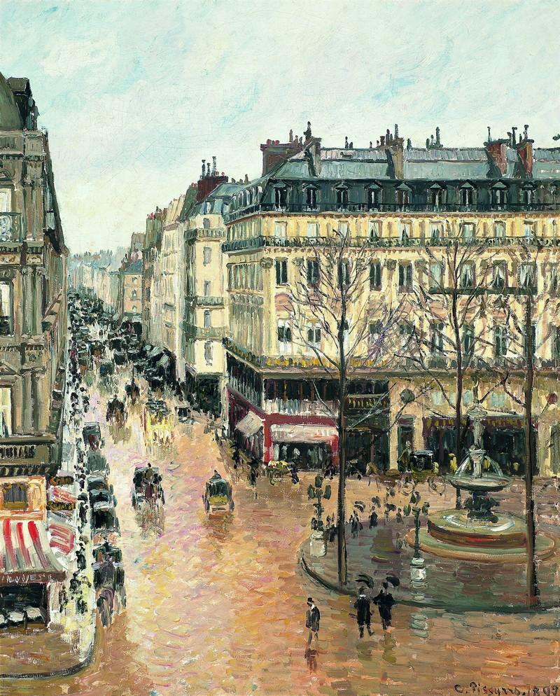 CAMILLE PISSARRO. Rue Saint-Honoré por la tarde. Efecto de lluvia (1897). Museo Thyssen-Bornemisza, Madrid