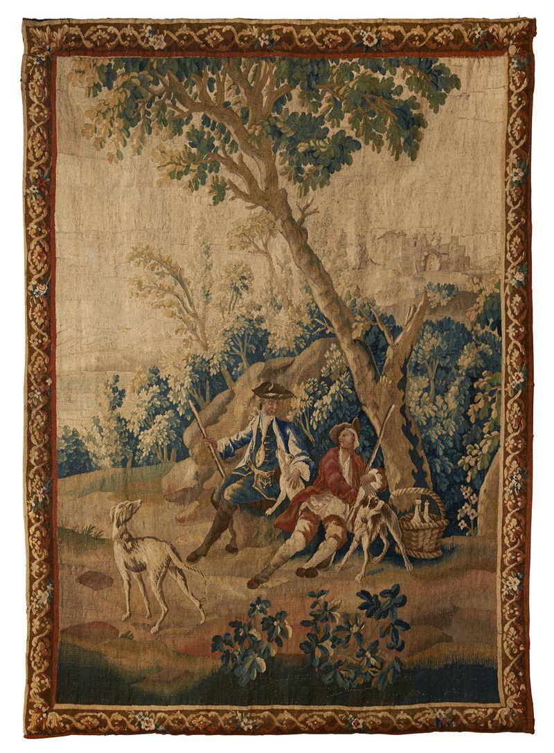 AUBUSSON Le repos des chasseurs Tapisserie  XVIIIème siècle Métayer