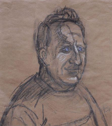 """Otto Dix """"Dr. Klook"""". 1960. Kohlestiftzeichnung, weiß gehöht, Graphitzeichnung sowie farbige Pastellkreidezeichnung auf braunem Packpapier. U.re. in Graphit signiert """"Dix"""". Verso von Künstlerhand vollflächig rot gestrichen, von fremder Hand in Blei datiert """"1960/5"""" und nummeriert """"521/60 K 1540 12"""". Im Passepartout und hinter Glas in einem sehr hochwertigen, profilierten Modellrahmen gerahmt. WVZ Lorenz SW 5.6.21. gerahmt 90 x 84,5 cm. Schätzpreis: 6800 EUR"""