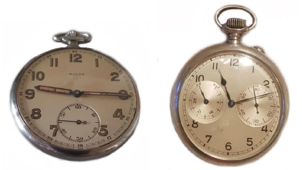Links: ROLEX - Militärtaschenuhr mit Leuchtzeigern aus Stahl, Schweiz um 1940 Rechts: A. LANGE & SÖHNE GLASHÜTTE - Marinebeobachtungsuhr (Lepine) mit Auf- und Ab-Werk, um 1940