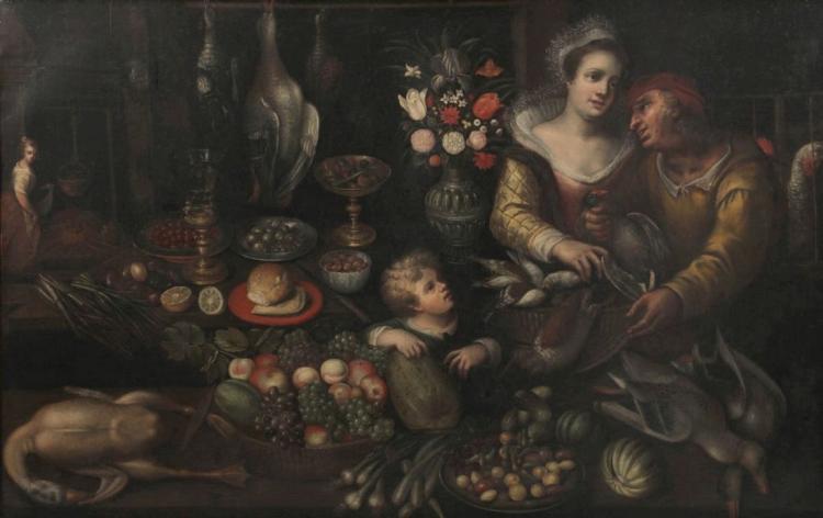 NIEDERLÄNDISCHE SCHULE - Kücheninterieur, Öl/Lwd., frühes 17. Jh.