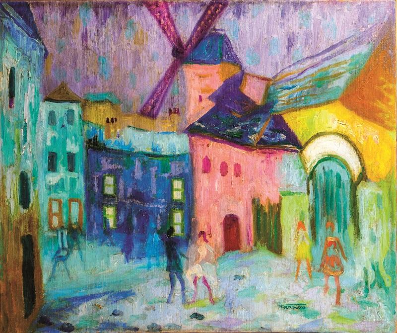 CASIMIR MARTÍNEZ TARRASSÓ. Vista de París con Le Moulin de la Galette al fondo