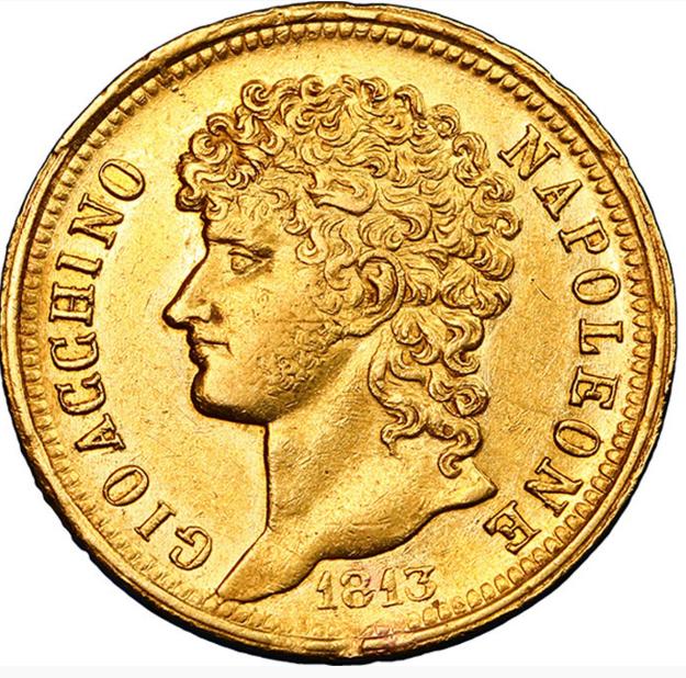 Italie - Royaume de Naples Joachim Murat 40 Lire or, rameaux longs 1813 Naples
