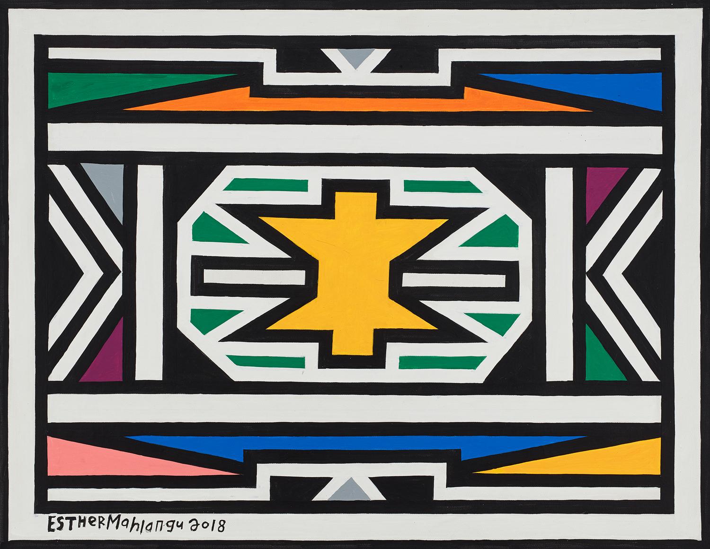 Esther Mahlangu, Ndebele Patterns, 2018. Photo: Aspire Art Auctions