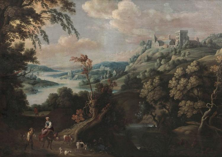 GILLIS CLAESZ. DE HONDECOETER (1575/80 Antwerpen - 1638 Amsterdam) attr. - Fantasielandschaft mit Hirtenpaar, Öl/Lwd.