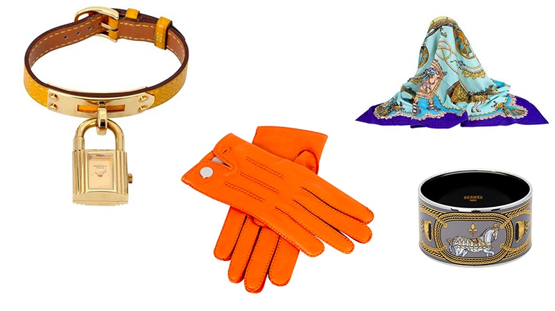 "Links: HERMÈS VINTAGE Damenuhr ""Kelly Watch"", Koll. 1989 Mitte: HERMÈS Lammleder-Handschuhe Rechts oben: HERMÈS Foulard ""Paperoles"" Rechts unten: HERMÈS Emaille-Armreif"