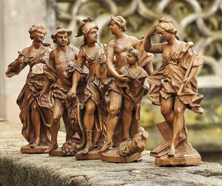 FERDINAND DIETZ (Holtschitz 1708- 1777 Memmelsdorf) - Gruppe von fünf Bozzetti—, Buchsbaum, H: 19,5 bis 21 cm Schätzpreis: 18.000 EUR