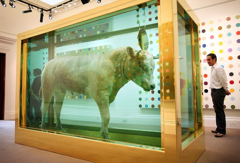 Damien Hirst, The Golden Calf, 2008. Glass, gold, gold plated stainless steel, silicone, calf and formaldehyde solution with Carrara marble plinth. 3989 x 3505 x 1676 mm | 157.1 x 138 x 66 in