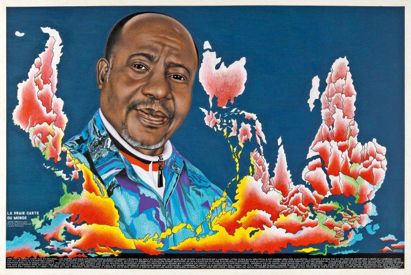 Chéri Samba, La vraie carte du monde, 2011 Acrylique et paillettes sur toile, 200 x 300 cm Collection Fondation Cartier pour l'art contemporain, Paris  photo © Florian Kleinefenn © Chéri Samba