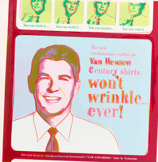 Andy Warhol's Van Heusen (Ronald Reagan). Screenprint in colors, 1985, a unique color trial proof, from AdsImage: Sotheby's