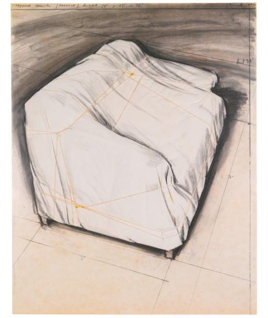 CHRISTO WRAPPED COUCH, PROJECT. Utrop: 494 000 SEK. Sotheby's. (Klicka på bilden för att komma till auktionen).