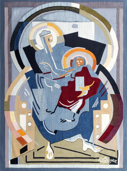 Cette tapisserie Boccara a été tissée à partir de l'œuvre d'Albert Gleizes. Femme et enfant ou Maternité Glorieuse , 1916 Boccara