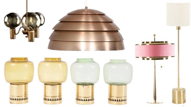 Taklampa med glaskupor, Taklampa kopparfärgad, Ljuslyktor 4st, Rosa bordslampa, Golvlampa Modellnummer G 123