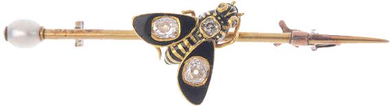 Broche abeille en or, émail et diamants
