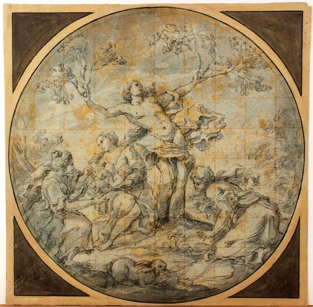 FRANCISCO TREVISANI (1656 Koper - 1746 Rom) attr. - Geburt des Adonis, Tinte/Papier, 300x301 mm Preis: 6.000 EUR