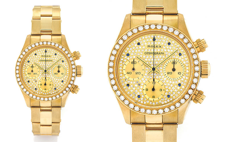 Rolex Daytona Diamond Cosmograph Oman réf 6269/8 en or jaune 18 carats, sertie de 240 diamants et saphirs et d'une lunette pavée de 44 diamants  Adjugé 491 202 dollars en mai 2013 chez Antiquorum Image via magmontres.fr