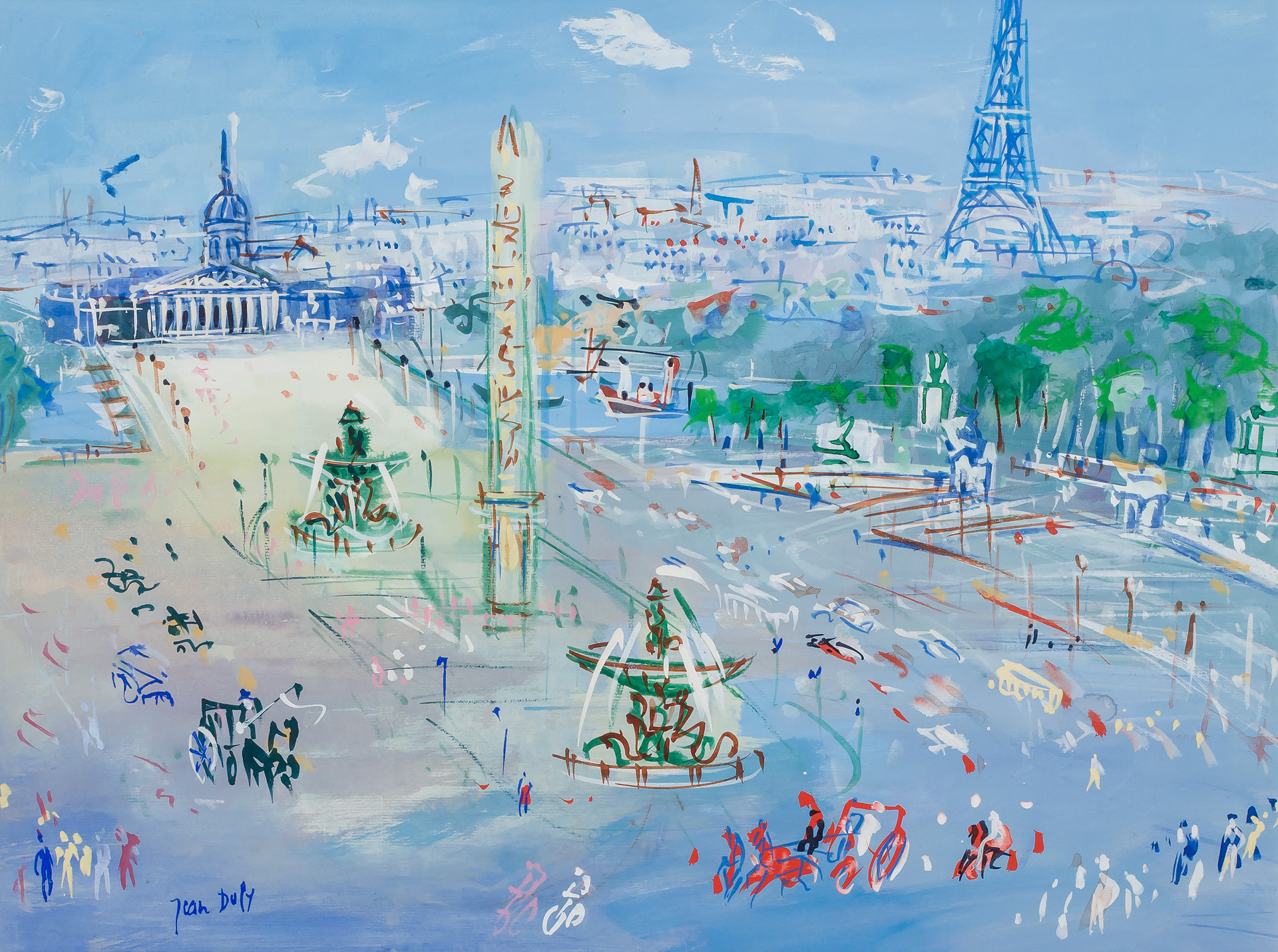 JEAN DUFY, French (1888-1964), Place De La Concorde, watercolor and gouache on paper, signed, 18 7/8 x 24 7/8 inches, Estimate:$40,000-60,000