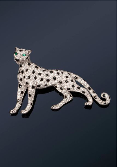 """Cartier """"Panther"""" clip in white gold and platinum"""