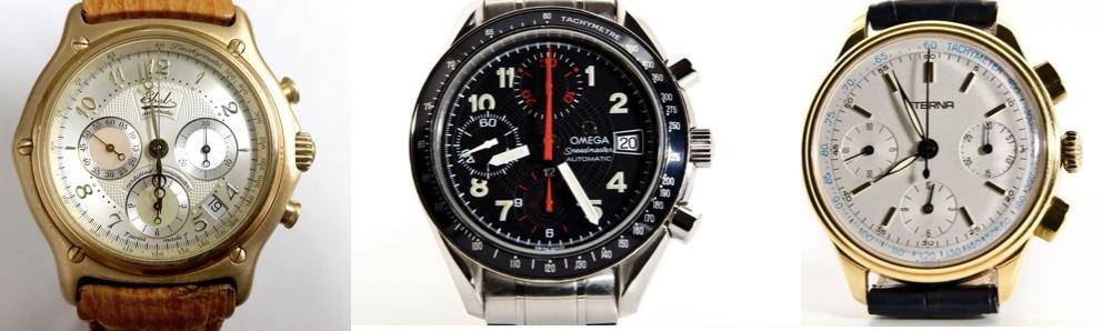"Links: EBEL - Automatic Certified Chronometer - ca. 2000 Schätzpreis: 5.500-7.250 EUR Mitte: OMEGA - Seamaster Automatic Schätzpreis: 2.300-3.000 EUR Rechts: ETERNA - Chronograph ""Les Historiques"" Schätzpreis: 3.200-4.200 EUR"