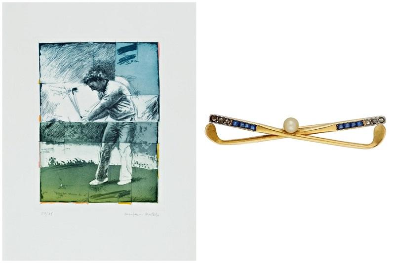 Izquierda: MANUEL QUINTANA MARTELO. Sin título. Grabado firmado y numerado Derecha: Broche en forma de dos palos de golf en oro, platino, zafiros, diamantes y perla cultivada (siglo XX)