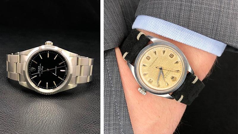Links: Rolex Airking, Stahl Rechts: Rolex Oyster Precision Cream Dial, Stahl, 1956