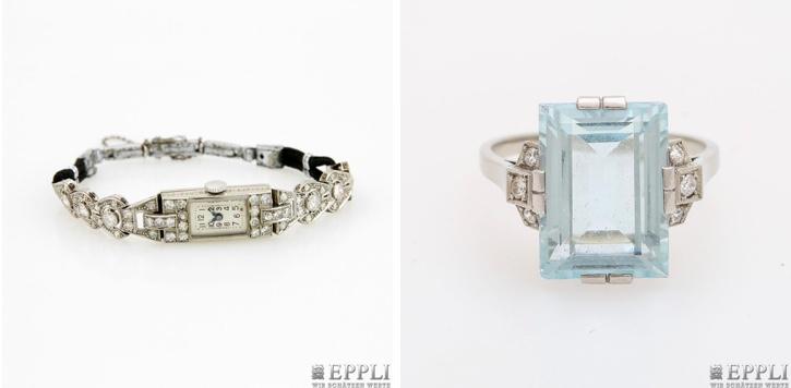 Links: Art déco-Damenarmbaduhr aus Platin mit Diamanten | Rechts: Art déco-Damenring aus WG mit Aquamarin im Treppenschliff und Altschliffdiamanten