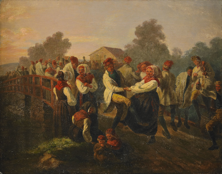 """Josef Wilhelm Wallanders """"Frieridansen på Floda-Bron (Dalarne)"""" von 1858 zeigt uns in der romanischen Art der damaligen Zeit ein traditionelles Midsommar-Fest mit Tanz, Gesang, Musik und Alkohol"""