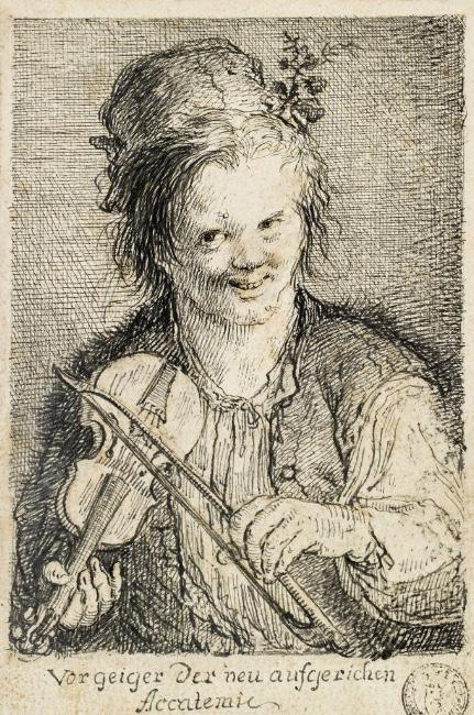 MARTIN JOHANN SCHMIDT gen. KREMSER SCHMIDT (Grafenwörth 1718 - 1801 Stein) - Geigender Knabe, Feder in Schwarz, 21,1 × 13,7 cm, betitelt Rufpreis: 1.500 EUR