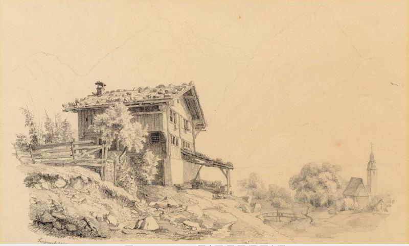 ROBERT ZÜND. Paisaje con granja e iglesia en frente de un paisaje de montaña