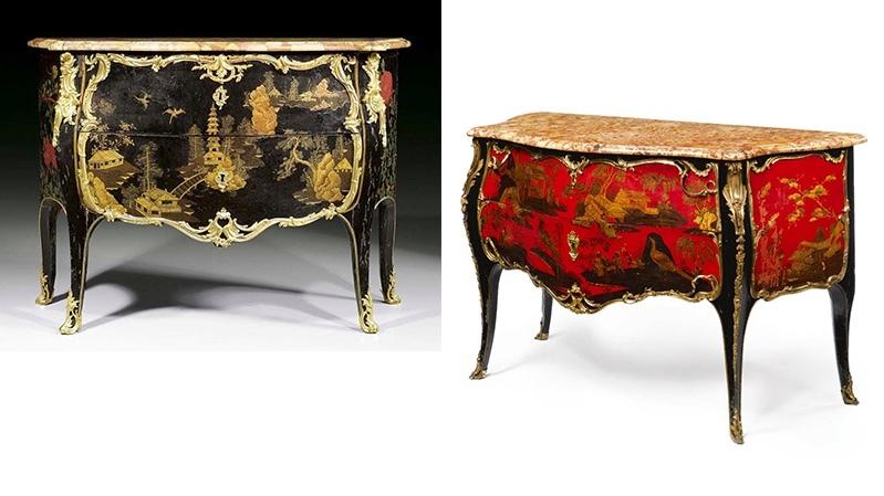 Gauche: J. Dubois, commode laquée, vers 1750, image ©Koller / Droite : J. Dubois, une commode laquée, vers 1745, image ©Sotheby's