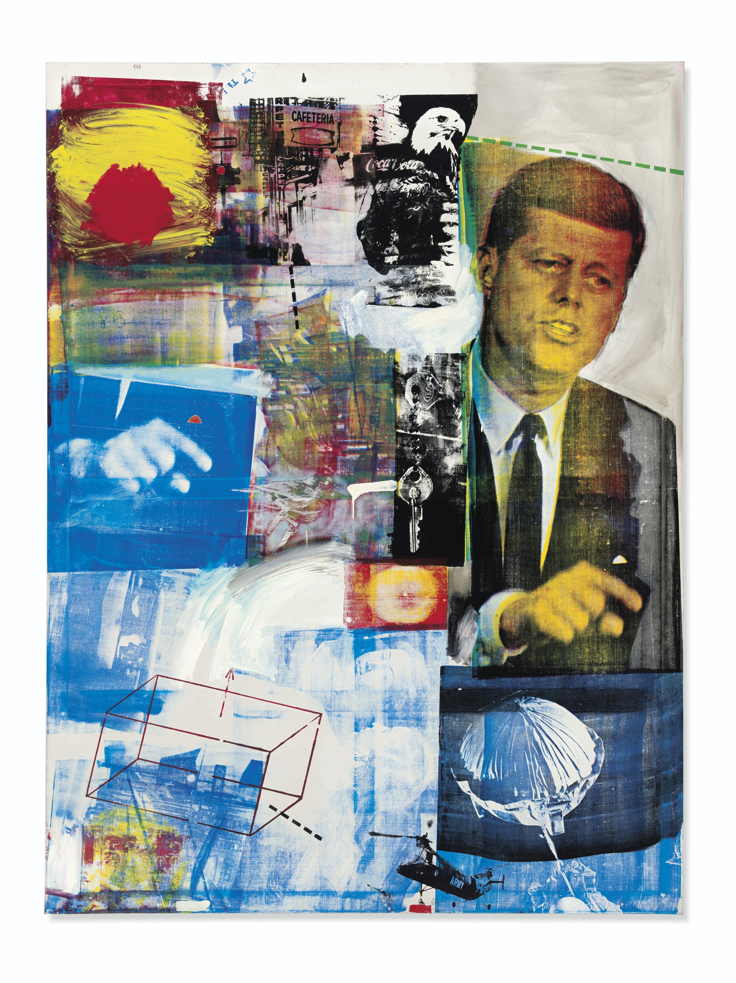 Robert Rauschenberg, Buffalo II, 1964, image © 2019 Robert Rauschenberg Foundation : Licensed by VAGA at Artists Right Society (ARS), New York via Christie's