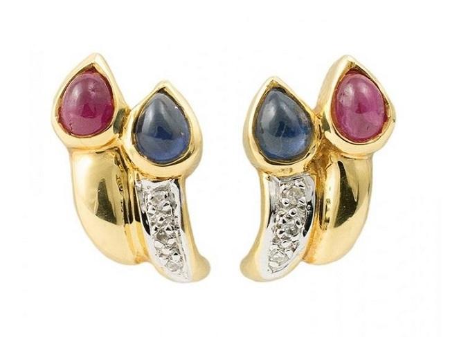 Pendientes de oro amarillo con zafiro y rubí en forma de lágrimas y tres diamantes