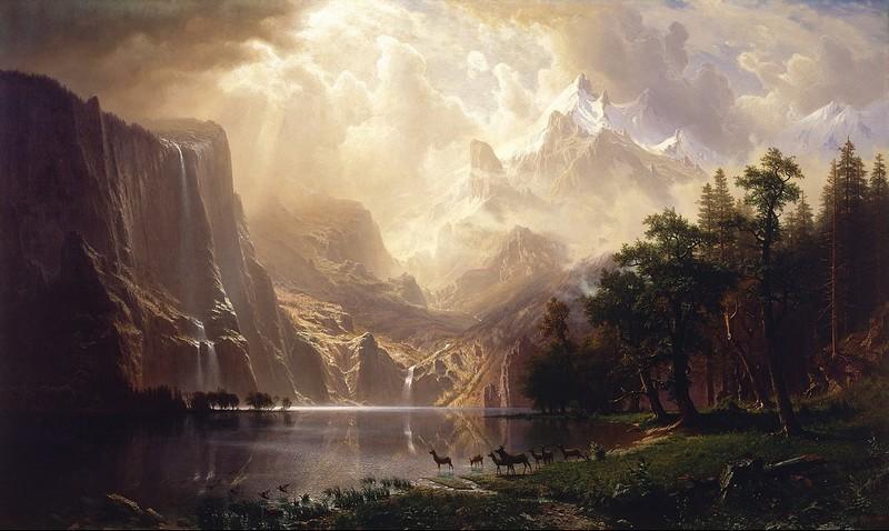 "ALBERT BIERSTADT. ""Among the Sierra Nevada, California"". Óleo sobre lienzo (1868)"