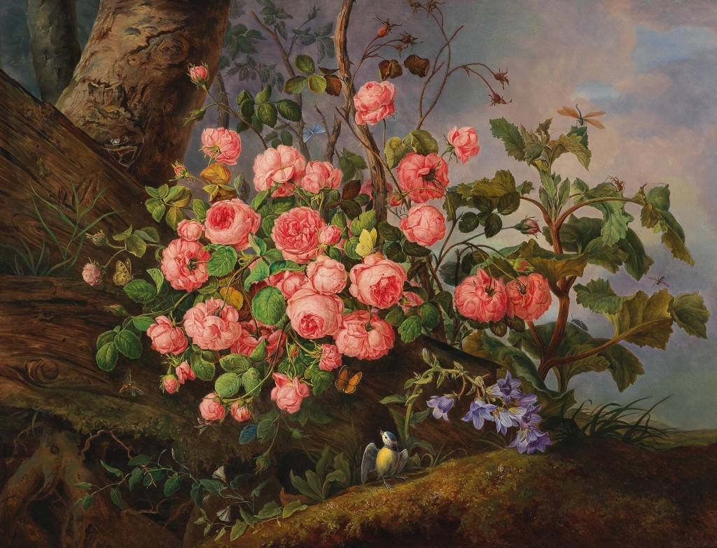 Franz Xaver Gruber (1801-1862) - Rosor, fjärilar, slända och fågel. Olja / LWD, 98 x 115 cm, signerad och daterad 1836 Utropspris: 30,000-40,000 EUR