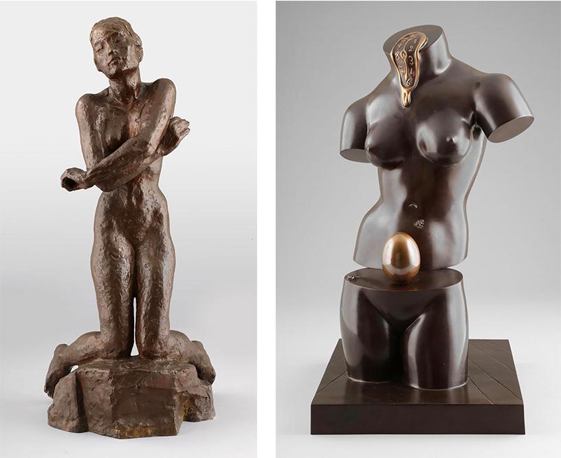 Links: GEORG KOLBE (1877 Waldheim - 1947 Berlin) - Klagende, Bronze, 1926 Rechts: SALVADOR DALÍ (1904 Figueras 1989) - Venus Spatiale, Bronze, signiert