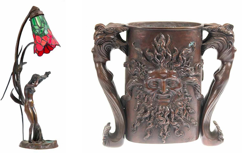Links: Jugendstil-Tischlampe mit floralen und figürlichen Elementen, Bronze, Glas Rechts: ERNST FUCHS (1930 Wien 2015) - Unikat-Gefäßobjekt, Bronze, braun patiniert, signiert