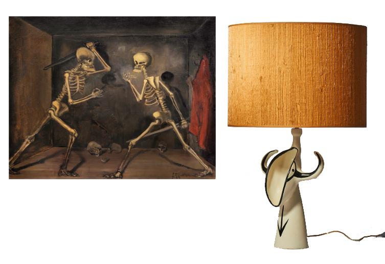 """À gauche: Combat de squelettes, Paul Delvaux, 1934 À droite: Lampe céramique par Roger Capron et signée """"Capron Vallauris"""""""