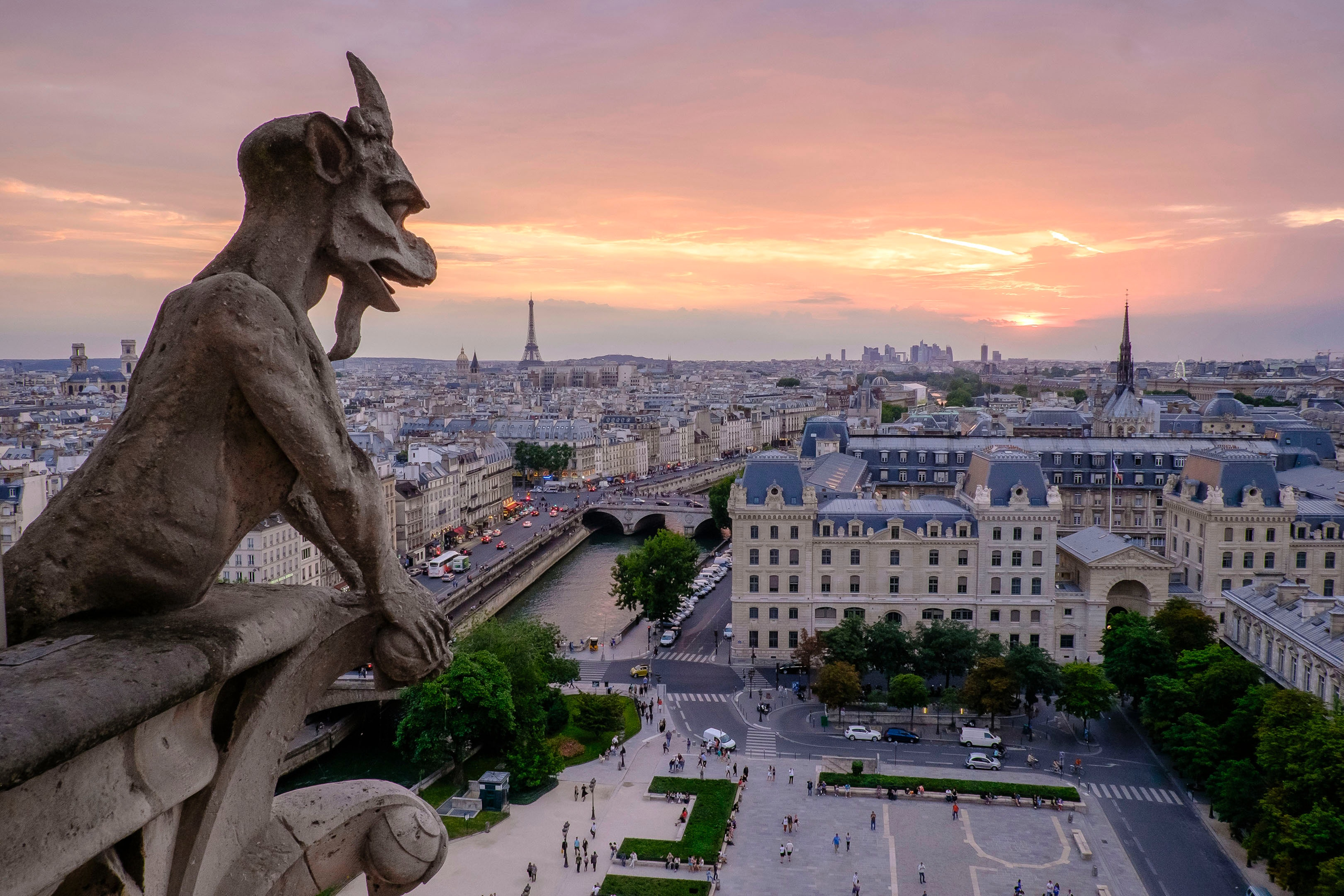 Chimaira, mytologisk hybrid mellan lejon och get som blickar ut över Paris. Foto: Pedro Lastra via Unsplash