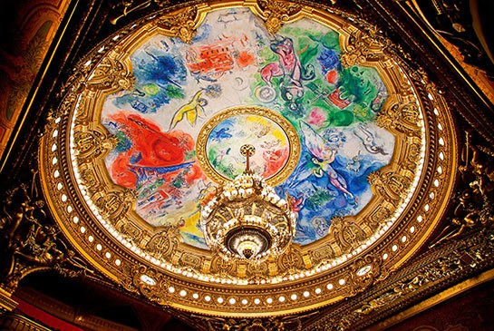 Chagall's ceiling of the Palais Garnier in Paris. Image: Architectural Digest
