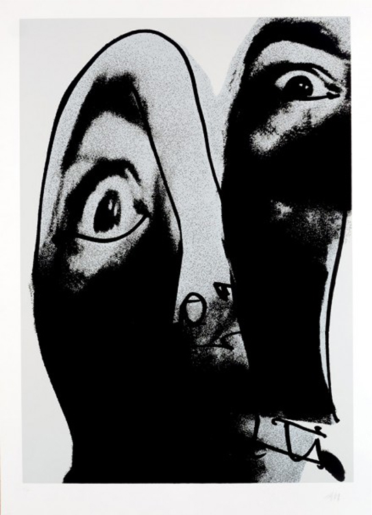 Antonio Saura de la série « Moi (1976) », sérigraphie sur papier, image ©Durán Arte y Subastas