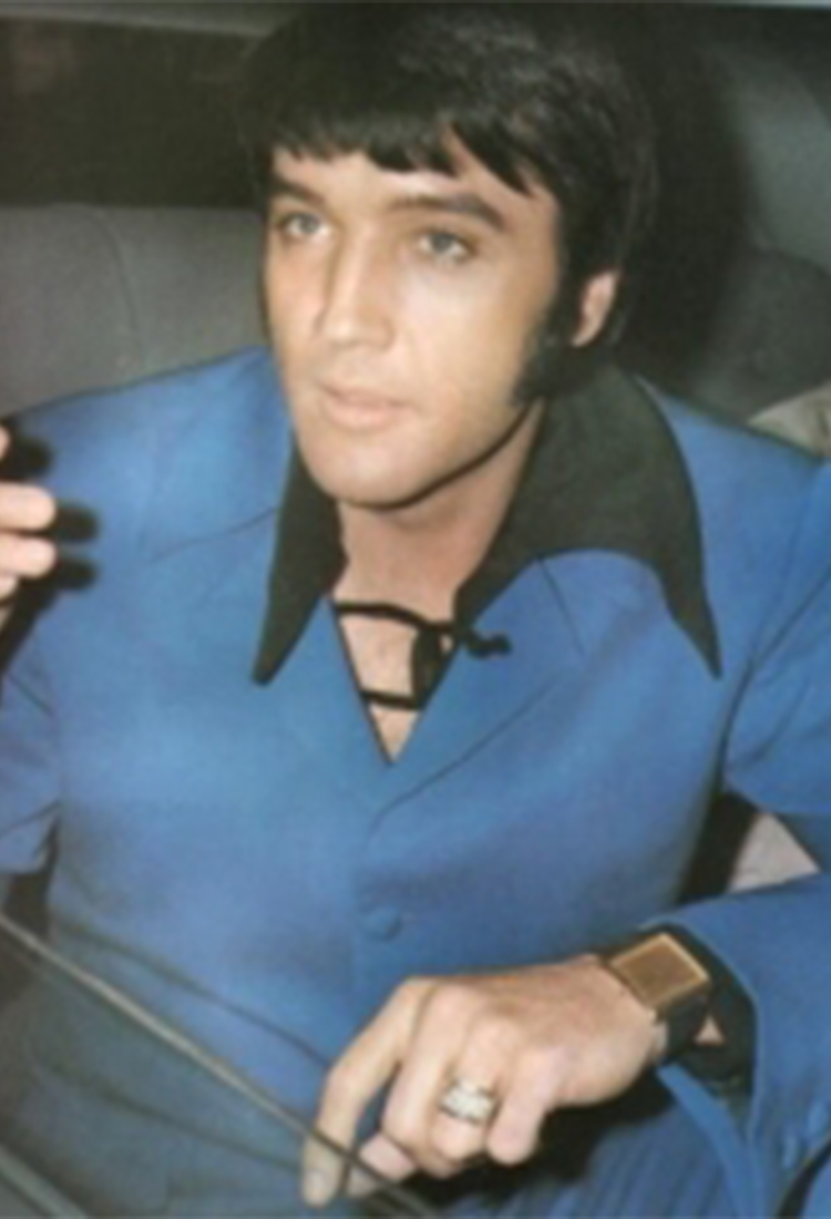 Elvis Presley wearing the flat, square Corum Buckingham around 1960 Image via Quill & Pad