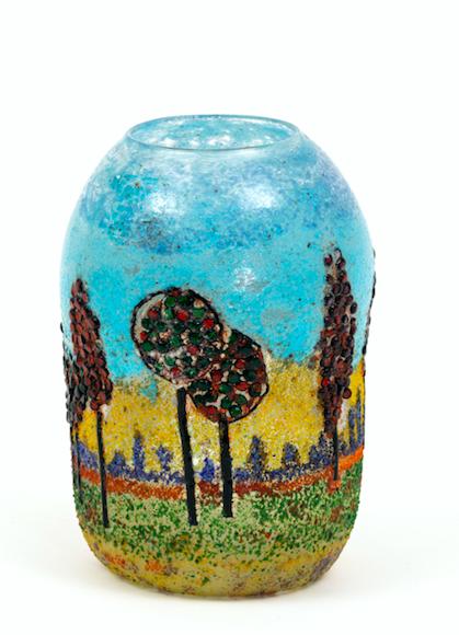 A rare blown glass vase decorated with rural landscape, Vittorio Zecchin, Barovier
