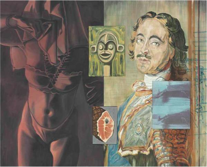 David Salle (b.1952) Young Krainer, 1989 acrylic and oil on canvas with two inserted panels 84 x 104 1/2 in. (213.4 x 265.4 cm.) © David Salle Courtesy of Skarstedt
