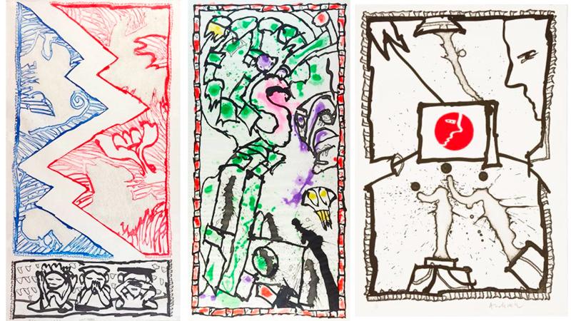 """À gauche: Pierre Alechinsky (né en 1927), """"Court-circuit"""", 1988 Au centre: Pierre Alechinsky (né en 1927), """"Réponse muette"""", 1988 À droite: Pierre Alechinsky (né en 1927), """"Profil-crochet"""""""