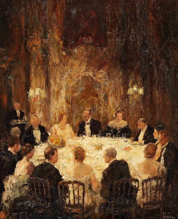 Otto Pippel (1878 Lodz - 1960 München) - Runt bordet, olja, 61 x 49 cm, signerad.