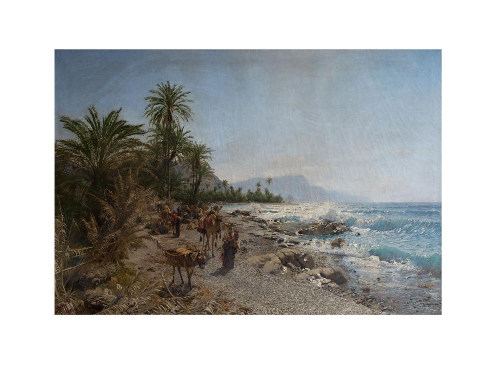 ADOLF MECKEL VON HEMSBACH (1856 Berlin 1893) - Kamelhirtinnen in der Oase des Peträischen Arabien, Öl/Lwd., signiert