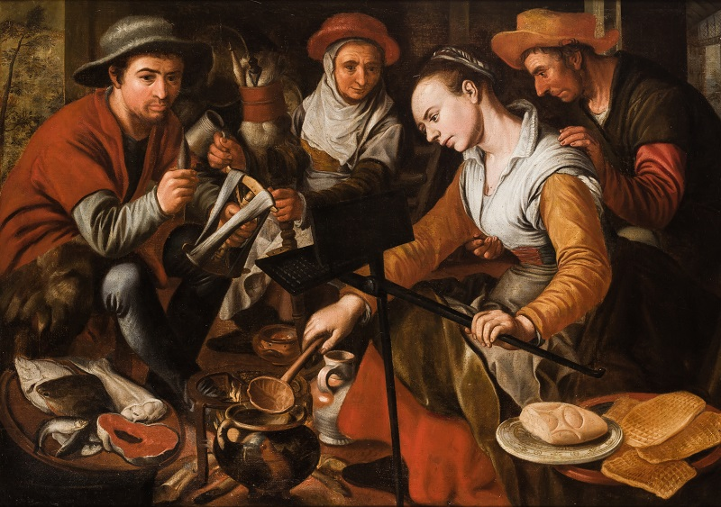 """JOACHIM BEUCKELAER. (Amberes 1530 - Amberes 1573). """"Escena de cocina flamenca"""""""
