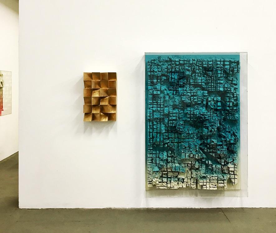 Jan Albers, highOnlight, 2015, bronze, and llagOOn, 2017, spray paint on polystyrene and wood. Photo: Fox Jensen Gallery