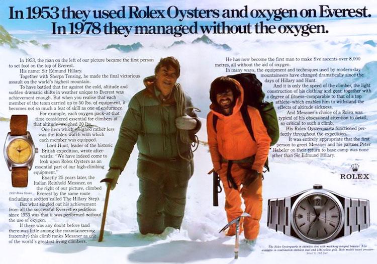 Rolexreklam – Två legendariska bergsbestigare, Sir Edmund Hillary och Reinhold Messner på Mount Everest  i maj 1978